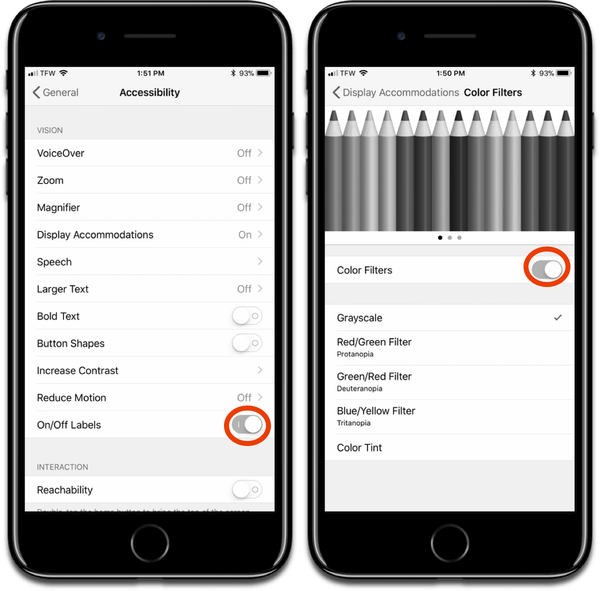 You can enable grayscale on Apple devices, like this iPhone.