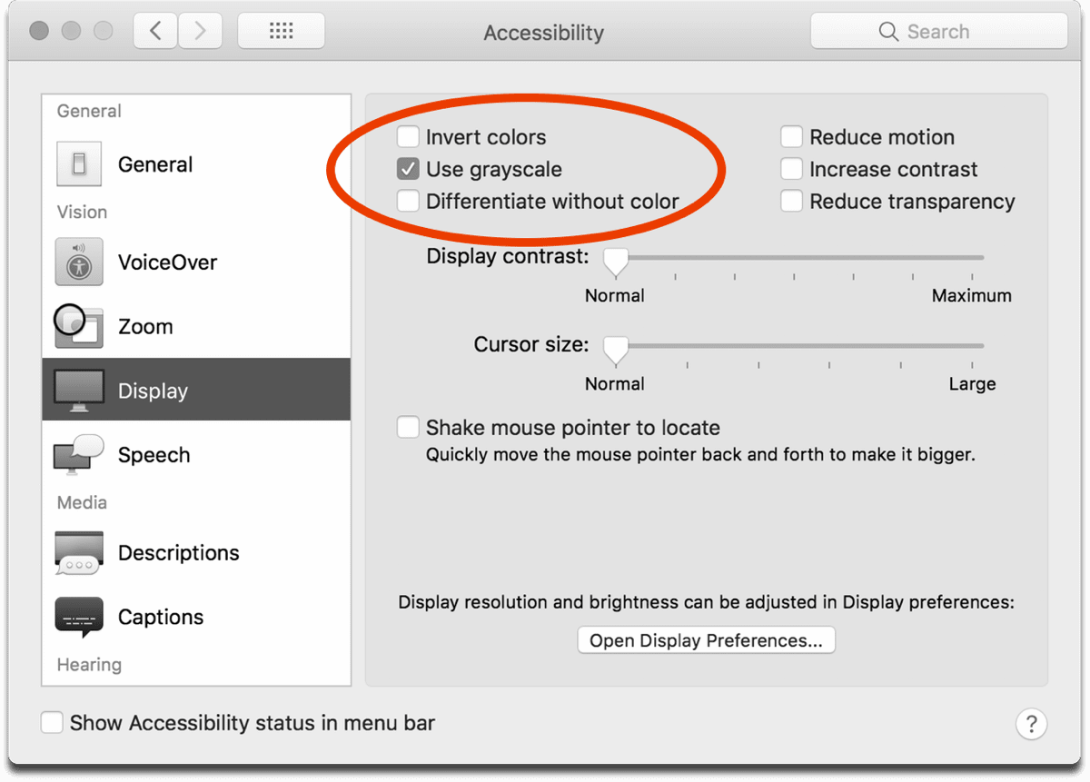 how to put the display to grayscale on mac