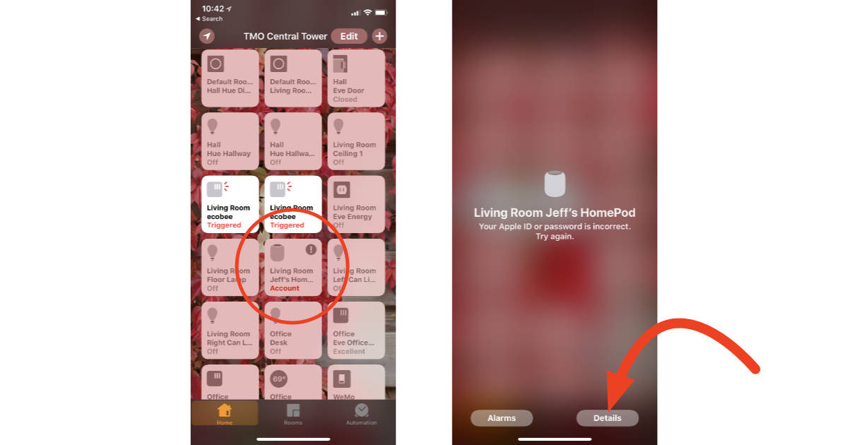HomePod tile in Home app on iPhone for updating Apple ID information