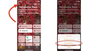Home app main screen with Home Settings menu