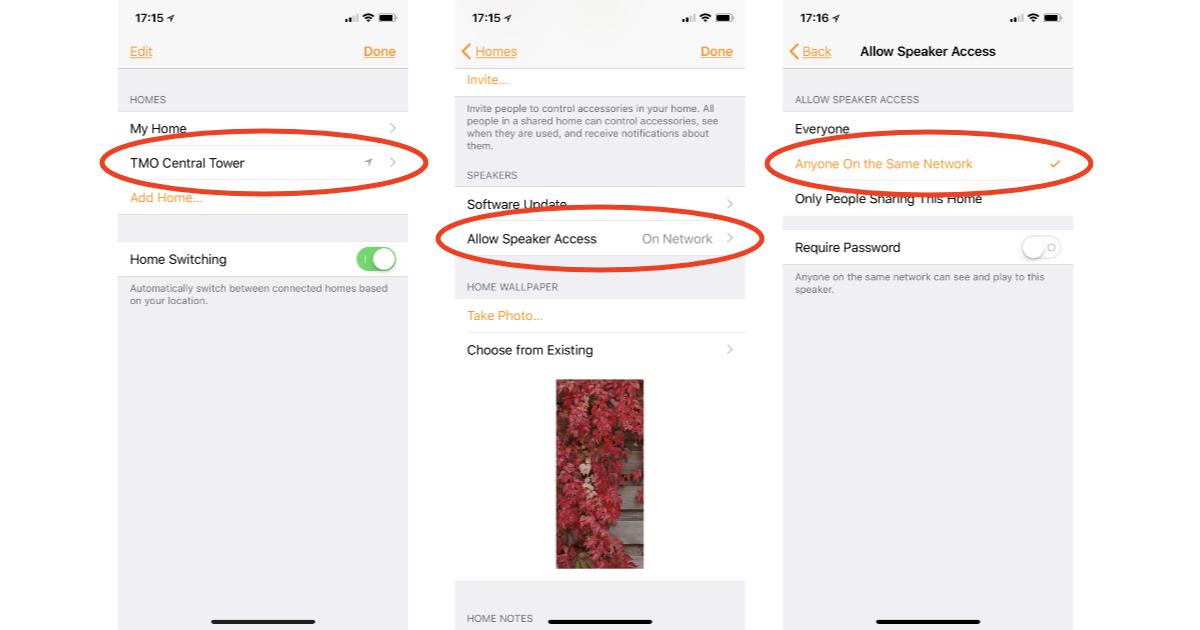 AirPlay speaker settings in Home app on iPhone