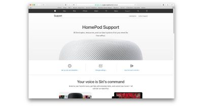 Apple HomePod help webpage