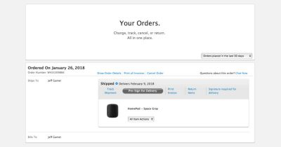 HomePod pre-order shipping status from Apple website