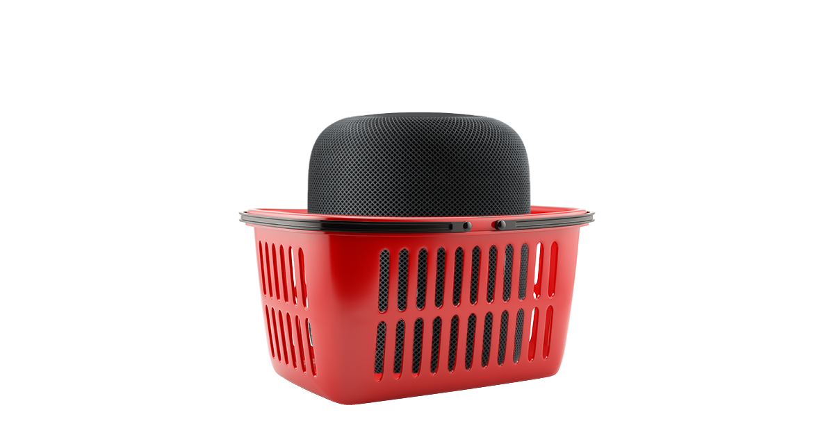 Apple HomePod in a shopping basket