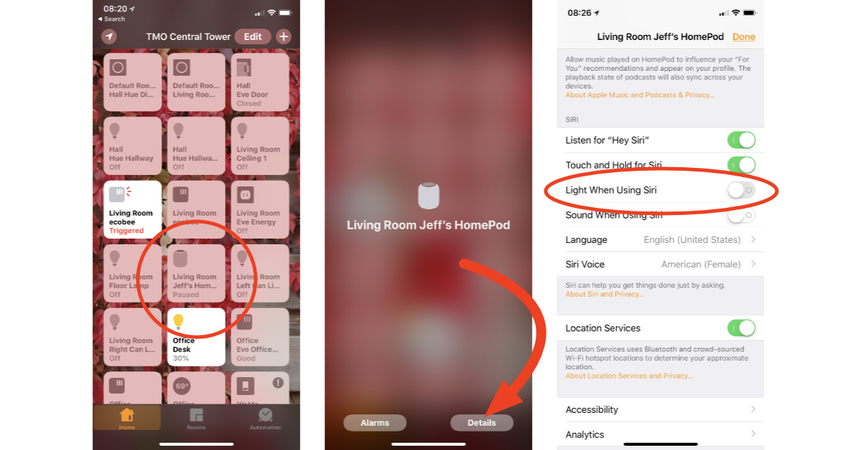 Home app settings for turning off HomePod Siri light