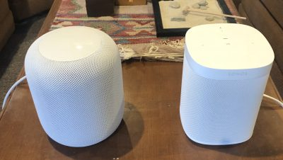 HomePod and Sonos One side-by-side