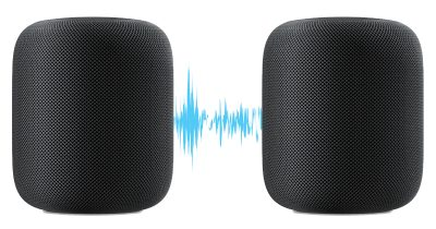 Two HomePod units with sound wave for FullRoom feature