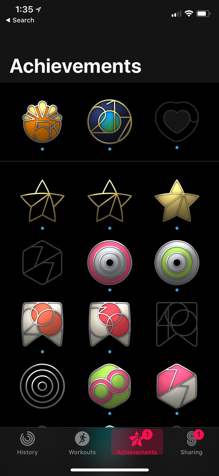 iOS 11 Activity App > Achievements Tab