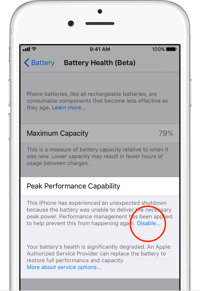 iOS 11.3 battery performance management disable option