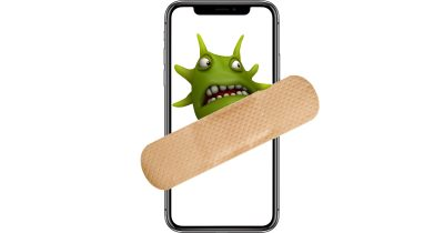 iPhone with a bug and bandaid