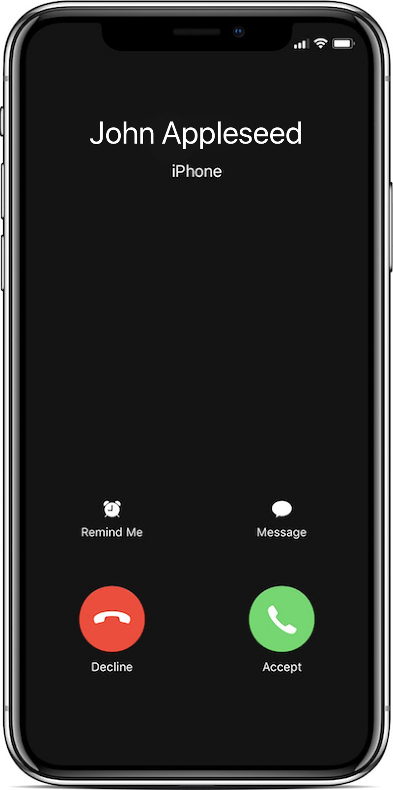 Image of iPhone X incoming call, which is experiencing a call delay bug.