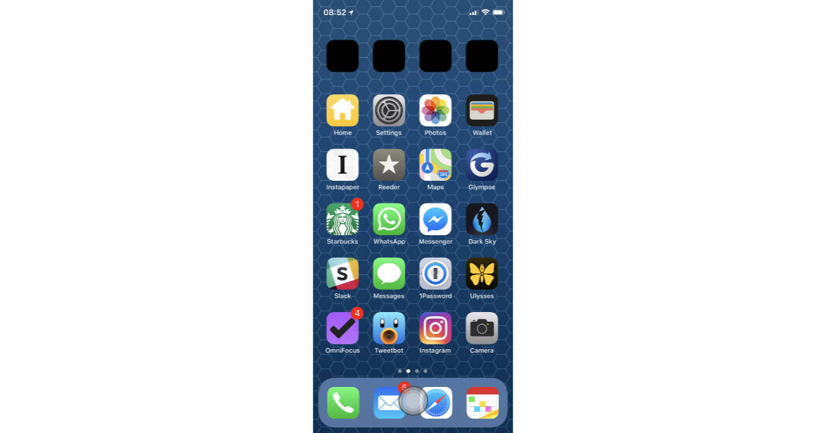 iPhone X with virtual Home button
