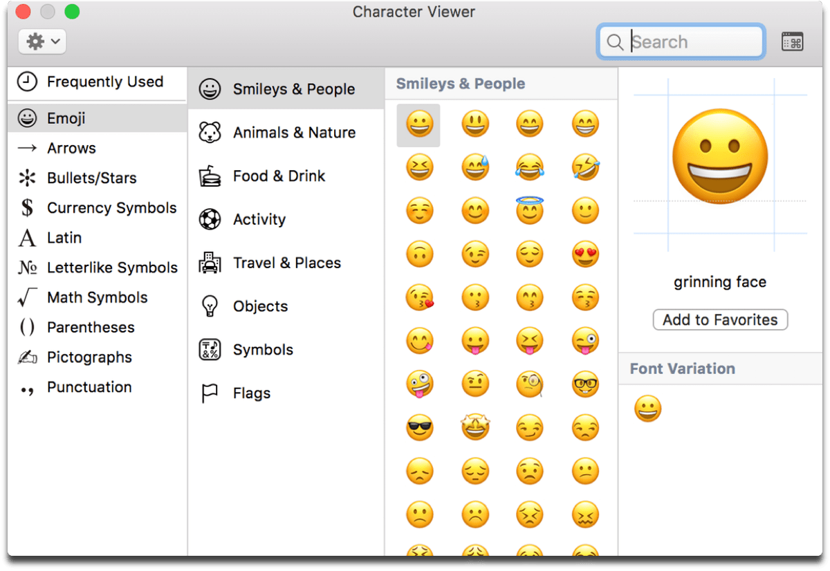 Screenshot of the Mac emojis window, which you can open with a keyboard shortcut.