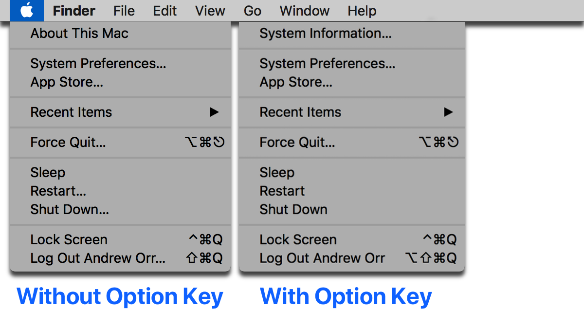 There are menu bar shortcuts you can do with the Option key. This image shows a comparison between using the Option key and not using it.