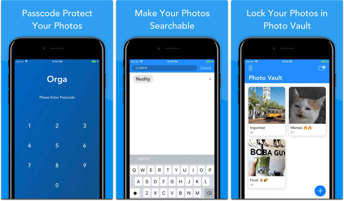 Screenshots of Orga, and app that lets you search text in photos.