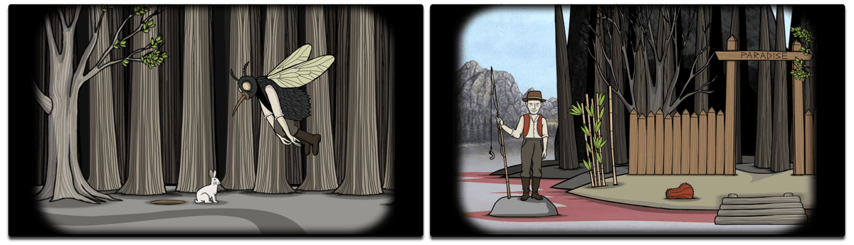 Screenshots of Rusty Lake Paradise, one of the iOS puzzle games.