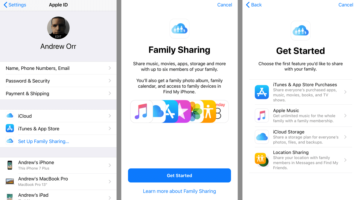 how to add itunes card to family sharing