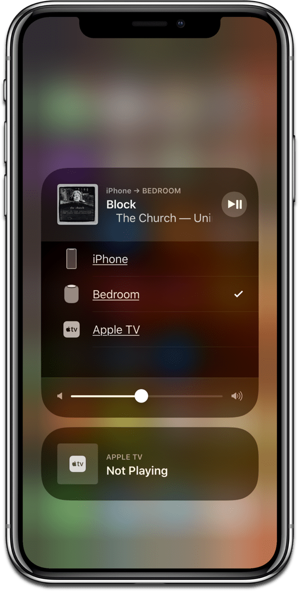 Stream Spotify on HomePod. Image of Control Center on iPhone X.