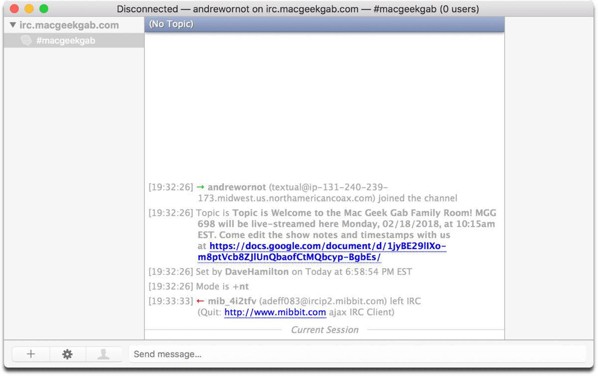 Screenshot of Textual, a Mac iRC client.