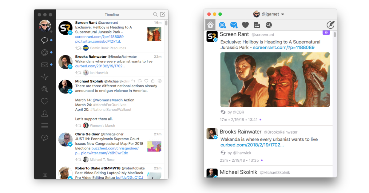 Tweetbot and Twitterrific Twitter client apps for the Mac