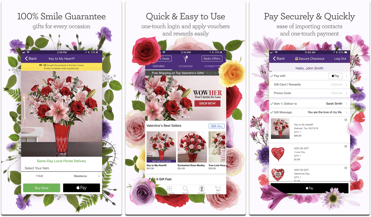 Screenshots of 1800Flowers, one of the Valentine apps.