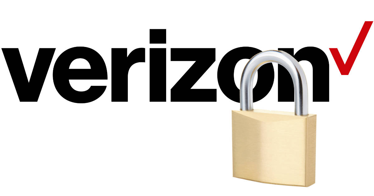 Verizon logo with closed padlock