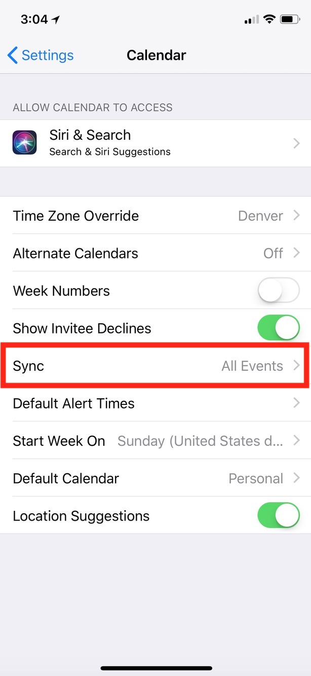 Calendar Settings for Sync on the iPhone