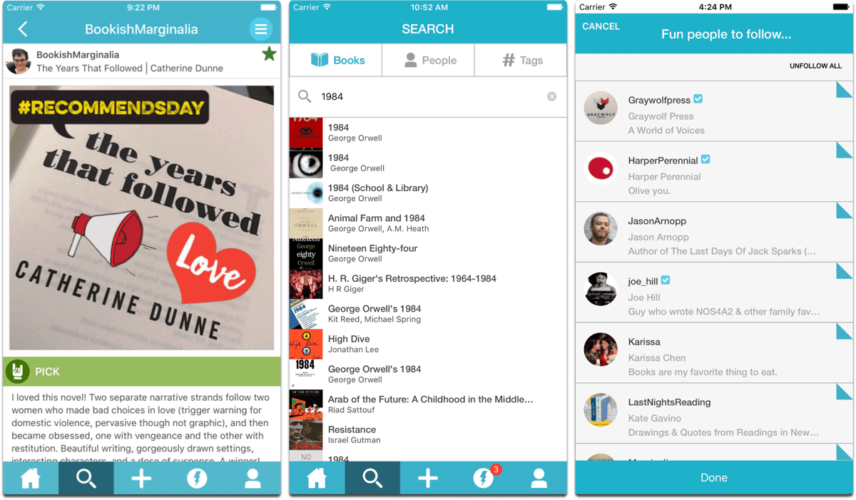Screenshots of Litsy, a reading social network in our list of Facebook alternatives.