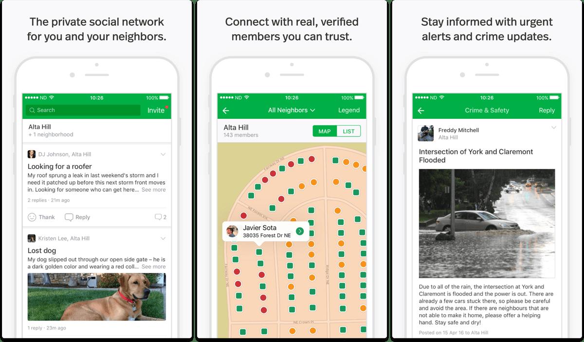 Screenshots of Nextdoor in our list of Facebook alternatives.