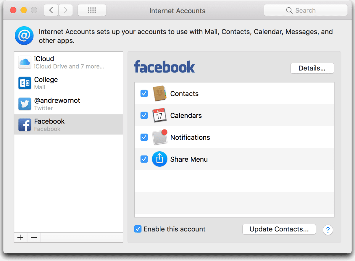 Facebook Contact Sync and calendar sync in macOS System Preferences.