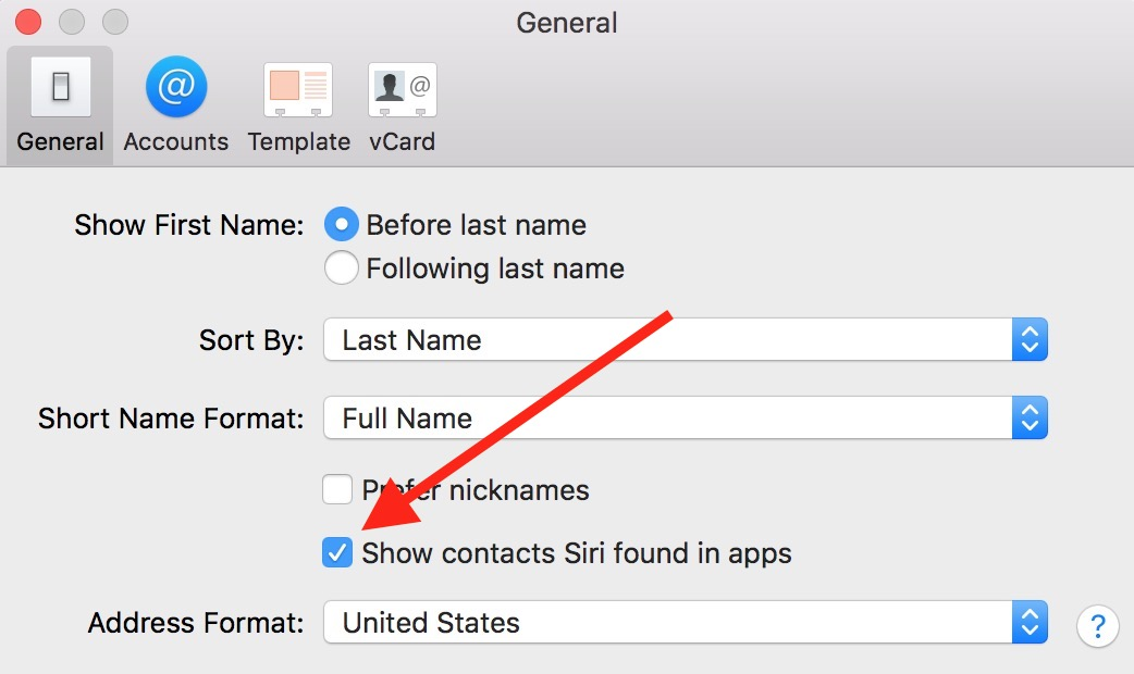 """Show Contacts Siri Found in Apps"" Checkbox lets you set if apps can suggest additional contact information"