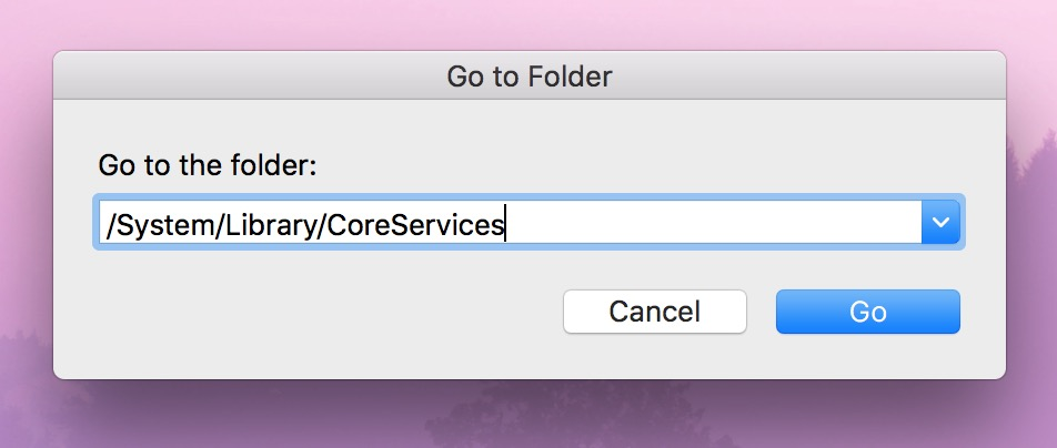 """Go to Folder"" Window showing path to macOS Core Services"