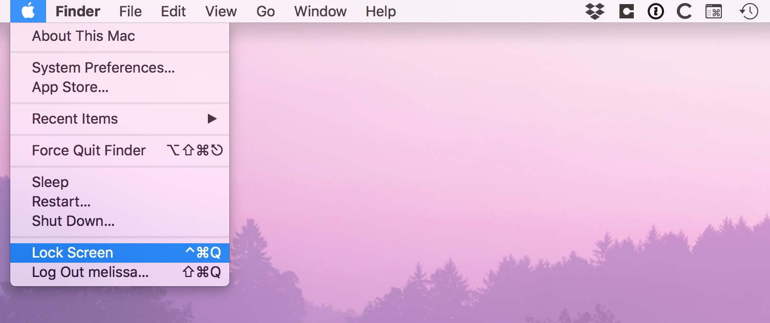 Lock Screen option from macOS Apple mene
