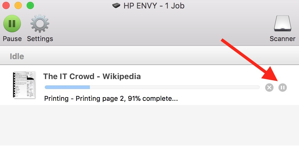 Hold Job Button in print queue window on macOS