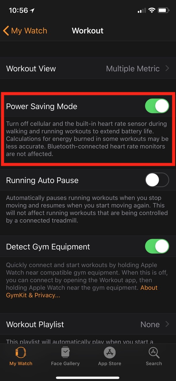 Power Saving Mode Toggle for workouts on Apple Watch