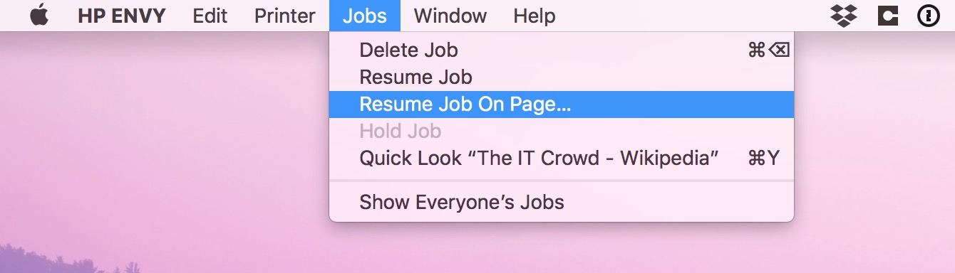 Resume Job on Page option in macOS print queue Jobs menu