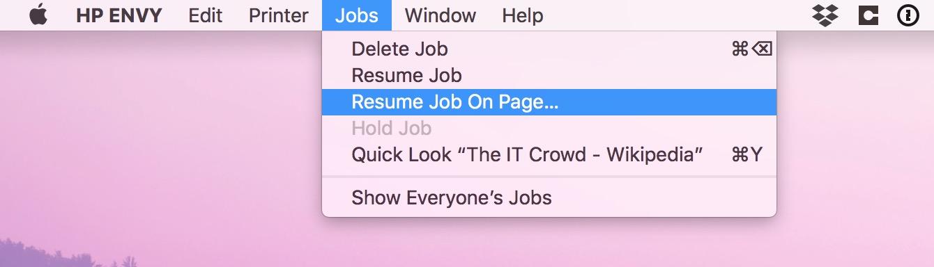 Resume Job on Page option in macOS print queue Jobs menu