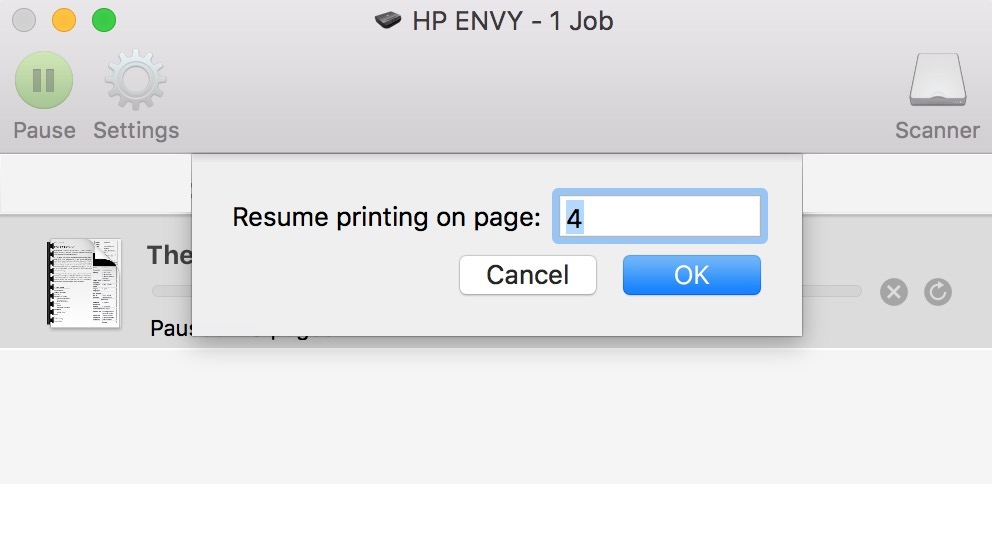 macOS print queue Resume Printing on Page Drop-Down