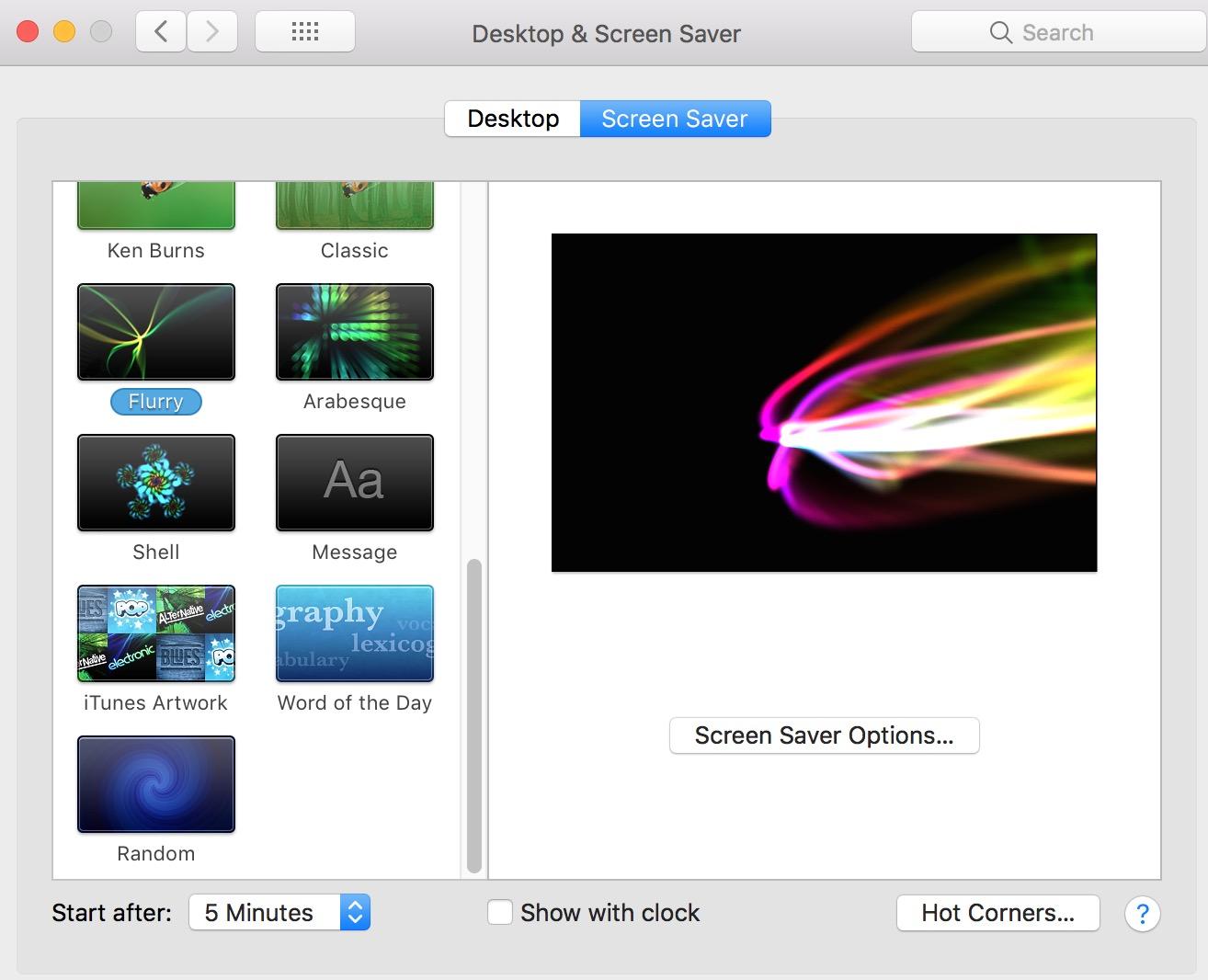 Desktop & Screen Saver Preferences showing macOS screensavers