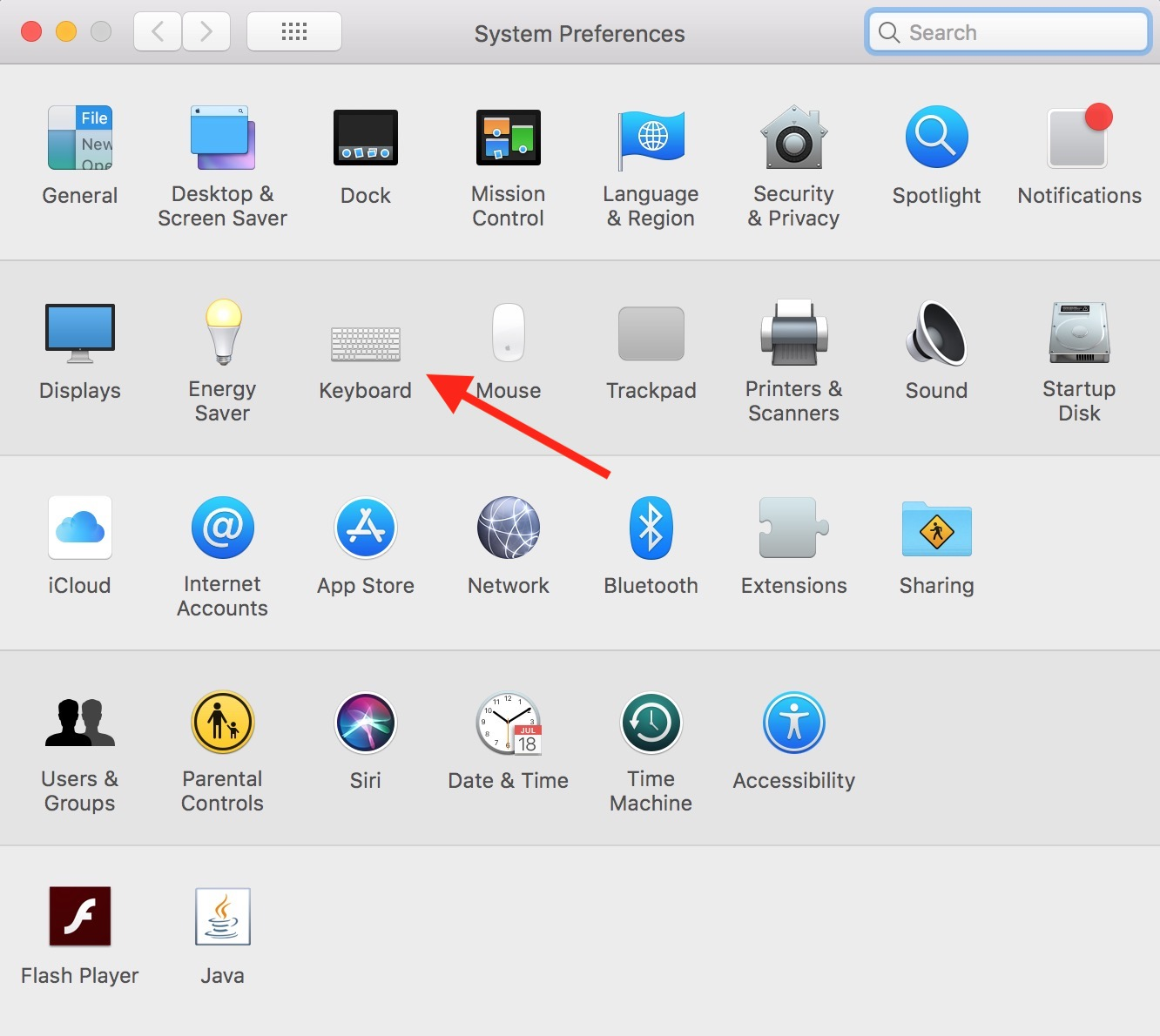 Mac System Preferences Window with Keyboard preferences