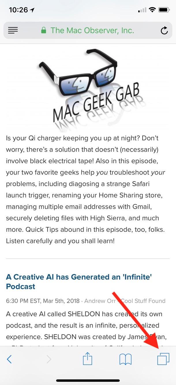 Tabs Icon in Safari on iPhone