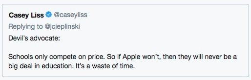 Tweet - iPad priding for education.