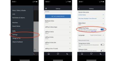 Alexa app settings for Follow-Up Mode