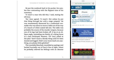 Amazon Kindle App on iPad with Split View