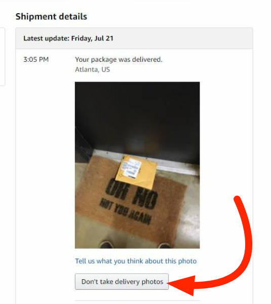 Amazon Photo on Delivery feature