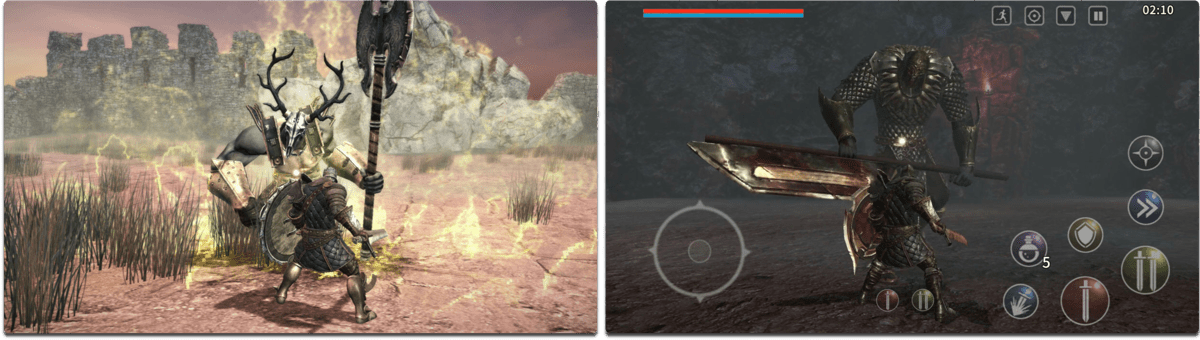 Screenshots of Animus, one of the iOS RPG games.