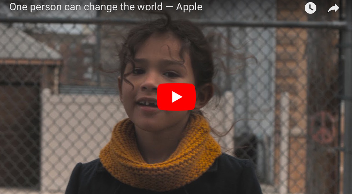 """Screenshot from """"One person can change the world"""""""