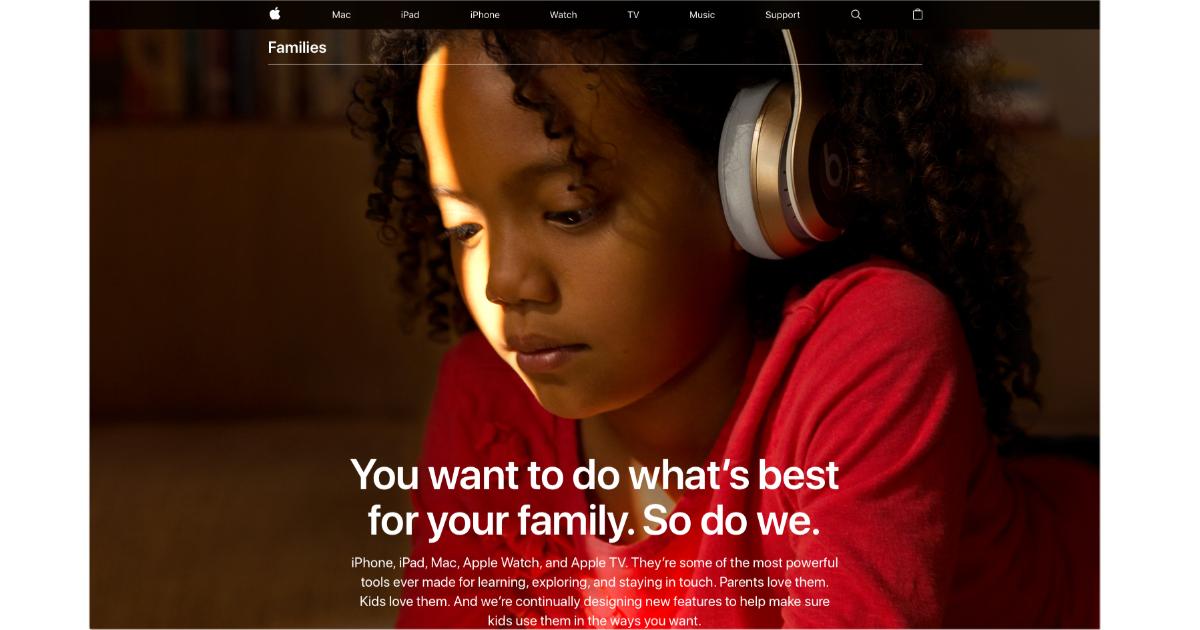 Apple Families webpage