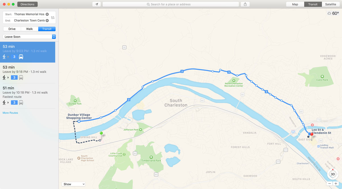 Apple Maps Adds Transit Directions for West Virginia