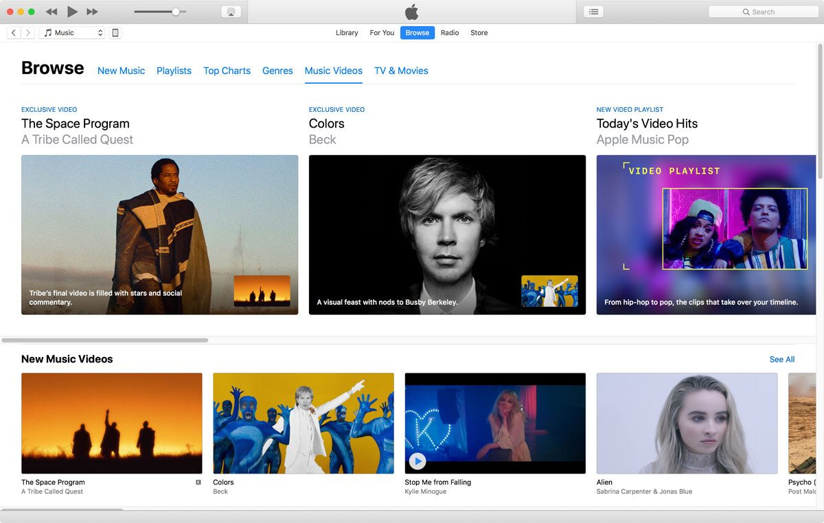 Screenshot of iTunes 12.7.4 Music Videos in Apple Music